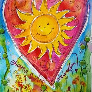Süssön a nap a szívedben, Gyerek & játék, Dekoráció, Otthon & lakás, Kép, Képzőművészet, Fotó, grafika, rajz, illusztráció, Nem print!\nA nap az élet, a vidámság, a szerelem... Bármely otthonban mosolyt varázsol.\nMindenkinek ..., Meska