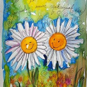 Margaréták, Gyerek & játék, Otthon & lakás, Dekoráció, Kép, Képzőművészet, Fotó, grafika, rajz, illusztráció, Nem print!\nA margaréták a napos sorozathoz tartoznak. :) \nA nap az élet, a vidámság, a szerelem... B..., Meska