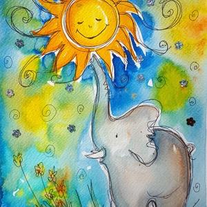 Nap-labda, Festmény vegyes technika, Festmény, Művészet, Fotó, grafika, rajz, illusztráció, Nem print!\nA nap az élet, a vidámság, a szerelem... Bármely otthonban mosolyt varázsol.\nMindenkinek ..., Meska