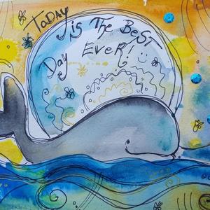 A mai nap a legjobb nap!, Gyerek & játék, Gyerekszoba, Dekoráció, Otthon & lakás, Lakberendezés, Festészet, Fotó, grafika, rajz, illusztráció, Nem print!!\nEgyedi rajzok, aquarellek gyerekeknek és gyermeklelkű felnőtteknek.\n\nTökéletes ajándék b..., Meska