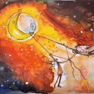 """Összekötő szál, Művészet, Festmény, Akvarell, Festészet, Mindenmás, \""""Az én szívemnek elég a te lelked\ns neked az én szárnyam elég szabadság.\nAz én ajkamról lengve égre ..., Meska"""
