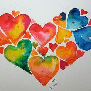 Szívből szívesen, Akvarell, Festmény, Művészet, Fotó, grafika, rajz, illusztráció, NEM PRINT!\nSzívem szevet, szívem szevet,\nvalóság ez nem álom...\nBármely korosztálynak tökéletes aján..., Meska