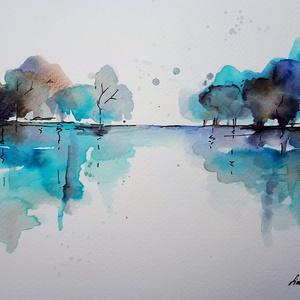 Kék horizont, Művészet, Akvarell, Festmény, Fotó, grafika, rajz, illusztráció, Meska