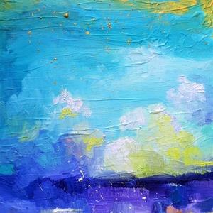 Türkiz és arany égbolt (50x70cm), Olajfestmény, Festmény, Művészet, Festészet, Intenzív érzelmi töltetű, erőteljesen strukturált olajfestmény. \n\nKépzőművészként fő profilom absztr..., Meska