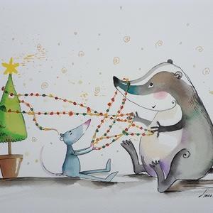 Karácsonyi előkészületek, Dekoráció, Otthon & lakás, Kép, Képzőművészet, Illusztráció, Festészet, Fotó, grafika, rajz, illusztráció, Nem print!\nMindenki varja a karácsonyt. Kedvenc Patekom a Borzzal készülődik az ünnepekre.\nKedves aj..., Meska