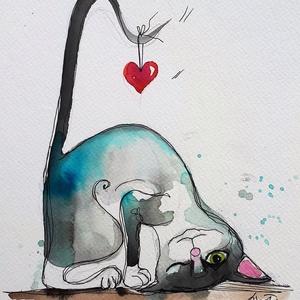 Szívből szeretettel, Dekoráció, Otthon & lakás, Kép, Képzőművészet, Illusztráció, Festészet, Fotó, grafika, rajz, illusztráció, Nem print!\nKedvenc témáim egyike a mi Mike macskánk. Ezen a képen egy szivecske akadt a farkára. :)\n..., Meska
