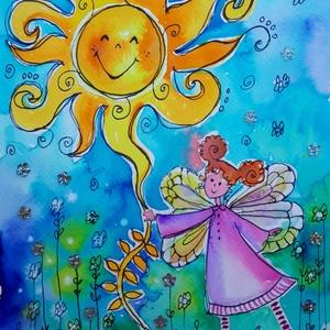 Napos-Tündéres, Művészet, Festmény, Festmény vegyes technika, Fotó, grafika, rajz, illusztráció, Nem print!\nA nap az élet, a vidámság, a szerelem... Bármely otthonban mosolyt varázsol.\n\nEz a kép 24..., Meska