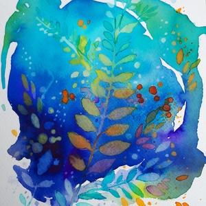 Ősz kékben, Művészet, Akvarell, Festmény, Fotó, grafika, rajz, illusztráció, Meska