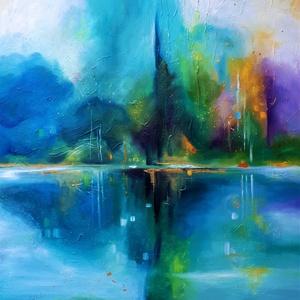 Tükröződés (100x100cm), Otthon & lakás, Dekoráció, Kép, Képzőművészet, Lakberendezés, Festészet, A Duna mellett élek. A víz jelenléte az életemben állandó inspirációt jelent.\nA tükröződés mérete: 1..., Meska