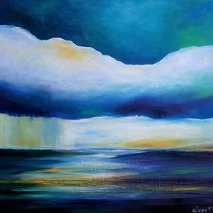 Horizontális gondolatok (100x100cm), Olajfestmény, Festmény, Művészet, Festészet, A Duna mellett élek. A víz jelenléte az életemben állandó inspirációt jelent.\nA kép mérete: 100x100c..., Meska