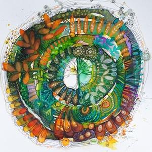 Mandala 9.-Évgyűrűk, Gyerek & játék, Otthon & lakás, Dekoráció, Kép, Képzőművészet, Fotó, grafika, rajz, illusztráció, Mottó: Hja, a világ naponként változik. (…) Mindennap bizonyos időben leszáll az este, de mire felvi..., Meska