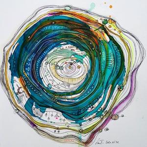 Mandala 10.-Évgyűrűk_51 év, Kép & Falikép, Dekoráció, Otthon & Lakás, Fotó, grafika, rajz, illusztráció, Saját születésnapra készült mandala. Készítek megrendelésre is évgyűrű -mandalát, beleszőve a meghat..., Meska