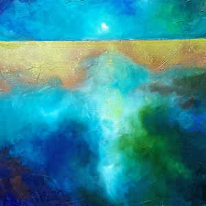 Arany horizont (50x50cm), Olajfestmény, Festmény, Művészet, Festészet, Képzőművészként fő profilom absztrakt olajfestmények készítése. Ezen a polcon néhányat mutatok be be..., Meska
