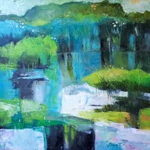 Dunai szigetek között (50x50cm), Olajfestmény, Festmény, Művészet, Festészet, Aki közvetlenül ismer, tudja, hogy mióta a Duna mellé költöztem, beszippantottak a vízi sportok.  A ..., Meska