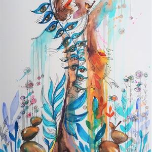 Tünde-kert (30x40cm), Akril, Festmény, Művészet, Fotó, grafika, rajz, illusztráció, Mottó: A sors sohasem egyenes vonalban, hanem cikcakkban szövődik. Eltér, visszatér, meglódul, megto..., Meska