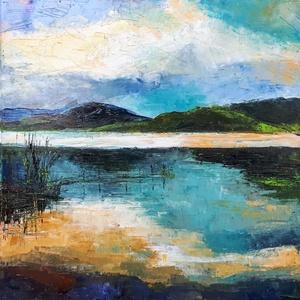 Tükröződések (50x50cm), Olajfestmény, Festmény, Művészet, Festészet, Aki közvetlenül ismer, tudja, hogy mióta a Duna mellé költöztem, beszippantottak a vízi sportok.  A ..., Meska
