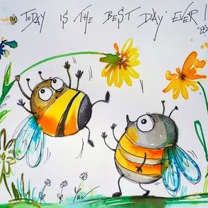 A mai nap a legjobb nap!, Otthon & Lakás, Falra akasztható dekor, Dekoráció, Festészet, Fotó, grafika, rajz, illusztráció, Meska