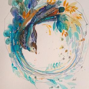 Mandala 11. Kék madár, Grafika & Illusztráció, Művészet, Fotó, grafika, rajz, illusztráció, Mottó: Hja, a világ naponként változik. (…) Mindennap bizonyos időben leszáll az este, de mire felvi..., Meska