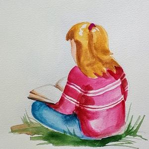 Olvasni jó 1., Akvarell, Festmény, Művészet, Festészet, Fotó, grafika, rajz, illusztráció, Nem print!!\nOlvasni jó!\nEgyedi rajzok, aquarellek gyerekeknek és gyermeklelkű felnőtteknek. A képek ..., Meska
