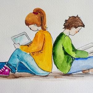 Olvasni jó! 2., Akvarell, Festmény, Művészet, Festészet, Fotó, grafika, rajz, illusztráció, Nem print!!\nOlvasni jó!\nEgyedi rajzok, aquarellek gyerekeknek és gyermeklelkű felnőtteknek. A képek ..., Meska