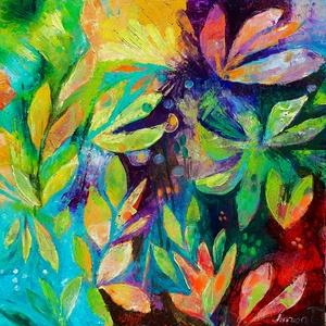 Fényjáték a kertben (50x50cm), Olajfestmény, Festmény, Művészet, Festészet, Azonnal falra akasztható, kedves, életteli kép. Karakteres struktúrája kiemeli a hagyományos tájképe..., Meska