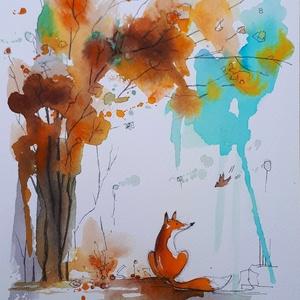 Róka, Művészet, Festmény, Akvarell, Fotó, grafika, rajz, illusztráció, Nem print!\nSzámodra én is csak ugyanolyan róka vagyok, mint a többi száz- meg százezer. De ha megsze..., Meska