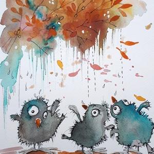 Őszlik, Művészet, Grafika & Illusztráció, Festészet, Fotó, grafika, rajz, illusztráció, Nem print!!\nEsős napokon is tartsunk bulit :) \nEgyedi rajzok, aquarellek gyerekeknek és gyermeklelkű..., Meska