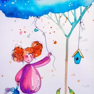Felhőket eregető, Művészet, Grafika & Illusztráció, Festészet, Fotó, grafika, rajz, illusztráció, Nem print!!\nEsős napokon is tartsunk bulit :) \nEgyedi rajzok, aquarellek gyerekeknek és gyermeklelkű..., Meska