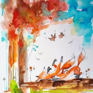 Pajkos rókák, Művészet, Festmény, Akvarell, Fotó, grafika, rajz, illusztráció, Meska