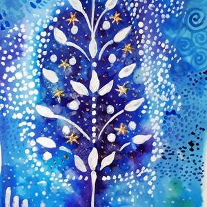Ragyogó Karácsony, Művészet, Festmény, Akvarell, Festészet, Fotó, grafika, rajz, illusztráció, Meska