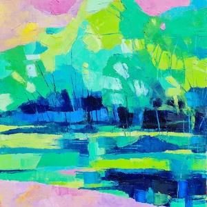 Tükröződés 10. (50x50cm), Művészet, Festmény, Olajfestmény, Festészet, Meska