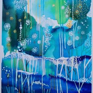 Kék valóság /30x20cm/, Művészet, Festészet, Meska
