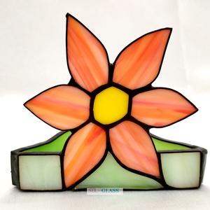 Virág Tiffany üveg mécsestartó asztali dísz, Otthon & lakás, Dekoráció, Ünnepi dekoráció, Húsvéti díszek, Lakberendezés, Gyertya, mécses, gyertyatartó, Asztaldísz, Üvegművészet, Virág formájú, Tiffany technikával készült tavaszi üveg mécsestartó. A Tiffany technika azt jelenti,..., Meska