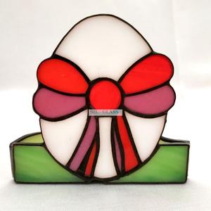 Masnis tojás Tiffany üveg mécsestartó asztali dísz, Otthon & lakás, Dekoráció, Ünnepi dekoráció, Húsvéti díszek, Lakberendezés, Gyertya, mécses, gyertyatartó, Asztaldísz, Üvegművészet, Masnis tojás formájú, Tiffany technikával készült  tavaszi üveg mécsestartó. A Tiffany technika azt ..., Meska