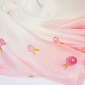 Rózsaszín apró rózsás, virágos selyemkendő (silkandmore) - Meska.hu