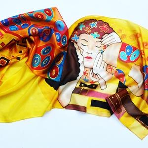 A csók Klimt képe inspirálta selyemsál (silkandmore) - Meska.hu