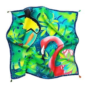 Flamingó tukán selyemkendő (silkandmore) - Meska.hu