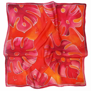 Pink piros trópusi selyemkendő pálmalevelekkel (silkandmore) - Meska.hu