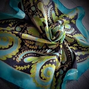 Kézzel festett türkiz-zöld selyemkendő hölgyeknek, Ruha & Divat, Sál, Sapka, Kendő, Kendő, Selyemfestés, Elegáns egyedi kézzel festett türkizkék-zöld-fekete, gazdagon díszített valódi selyem te festett sel..., Meska