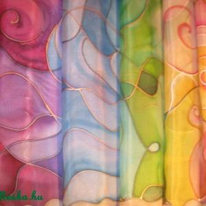 Színátmenetes   selyemsál, Festmény vegyes technika, Festmény, Művészet, Selyemfestés, méret: 150*40 cm\nanyaga: selyem\n\nNagyon mutatós,egyedi tervezésű,divatos selyemsál.\nAjándéknak ajánl..., Meska