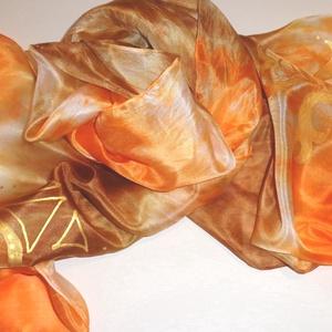 Csoki-narancs selyemsál aranyszínű mintával (Silkmagic) - Meska.hu