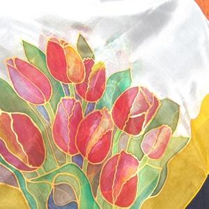 Tulipán virágözön  selyemkendő, Táska, Divat & Szépség, Sál, sapka, kesztyű, Ruha, divat, Kendő, Selyemfestés, anyaga :100% selyem/ponge6/ponge8\nmérete:  90*90 cm vagy  150 *40 cm-es méretben is rendelni.\nFigyel..., Meska