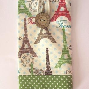 Párizs mintás mobiltok, zöld szegéllyel, Táska & Tok, Pénztárca & Más tok, Telefontok, Varrás, A mobiltok Eiffel-torony mintás pamut anyagból készült, vetex-szel bélelve, pamutvászon béléssel. Sz..., Meska