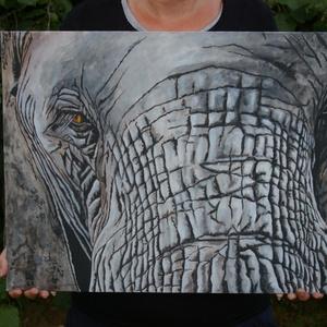 ELEFÁNT festmény, Művészet, Festmény, Akril, Festészet, Mérete:40x50cm   falapra kasirozott vászonra készült.\nNagyon szép,egyedi dekoráció lehet bárkinek,ak..., Meska