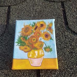 NAPRAFORGÓK festmény , Művészet, Festmény, Akril, Festészet, Van Gogh reprodukció miniatűr kivitelben.\nMérete 10x12cm feszitett vászonra készült,akril festékkel...., Meska