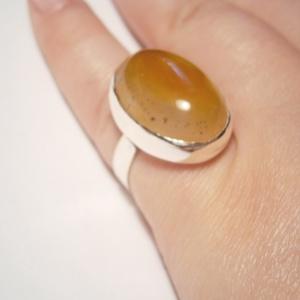 Sárga achát ezüstgyűrű - ékszer - gyűrű - statement gyűrű - Meska.hu