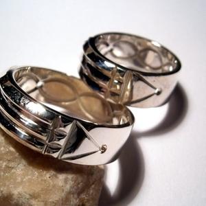 Atlantiszi gyűrűpár ezüstből, Ékszer, Gyűrű, Kerek gyűrű, Ékszerkészítés, Ötvös, Rendelésre készítem,gyűrűméretek alapján.Sélességet is lehet választani 5mm -től.Az alapminta a gyűr..., Meska
