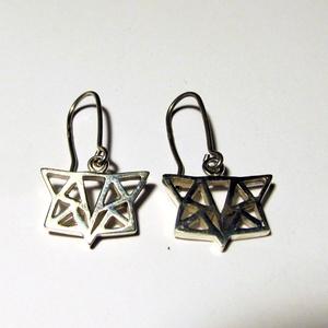 Ezüst rókafej origami fülbevaló, Ékszer, Fülbevaló, Lógó fülbevaló, Ékszerkészítés, Ötvös, Meska