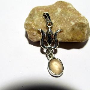 Tulipános ezüst medál csüngővel, Ékszer, Nyaklánc, Medál, Ékszerkészítés, Ötvös, Meska