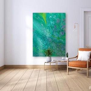 Absztrakt festmény - Frissítő , Művészet, Festmény, Akril, Festészet, Abszrakt festmény 1 db \nCíme: Frissítő \nMérete: 60x75 cm\nFeszített vásznon\n\nA festmény fluid art tec..., Meska